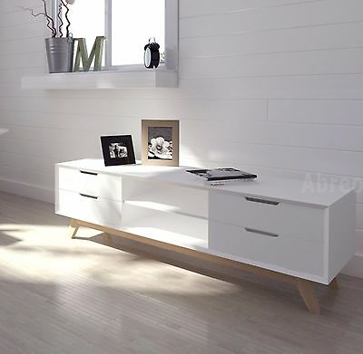 New Modern Scandi TV Unit White Television Stand Drawers 120cm or 150cm Length