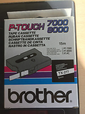 brother  tx-211 banderole-cassette 6 MM noir/blanc