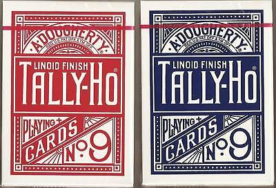 12 DECKS Tally Ho Fan Back playing cards Red & Blue FREE USA SHIPPING