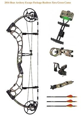 New 2016 Bear Archery Escape 55-70# LH Compound Bow Package Realtree Xtra Green