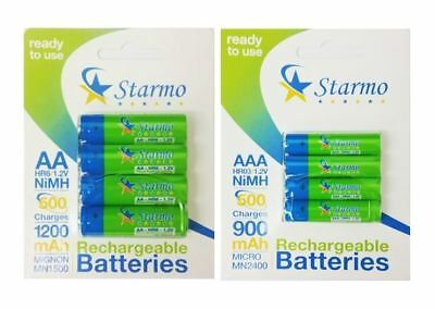 Starmo 4 x AAA MN2400 + 4 x AA MN1500 Rechargeable Batteries NiMH Ready To Use