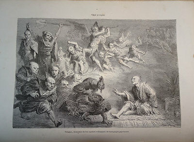 ANTIQUE ENGRAVED JAPAN 1876 TENGOU DEMON OF DREAMS 19th. CENTURY PRINT 010GCC