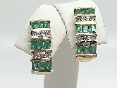 14K Yellow Gold Genuine Emerald And Diamond Leverback Earrings