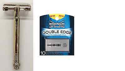 Metal Double Edge Butterfly Safety Razor + 10 Wilkinson Sword Double Edge Blades