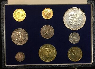 1961 South Africa 9 Coin Specimen Set Box With Silver & Gold - Pristine
