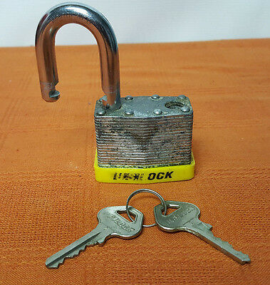 U.S. Lock Padlock and 2 Keys - Used Vintage Working Condition
