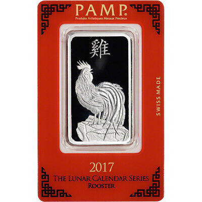 1 oz. Silver Bar - PAMP Suisse - Lunar Year of the Rooster - .999 Fine in Assay