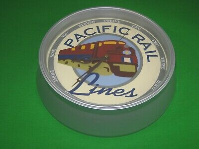 Pacific Rail Lines Battery Operated Wall Clock Train Design
