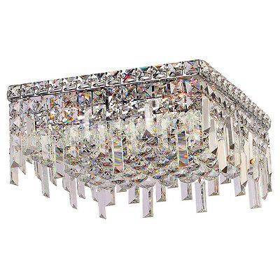 Glam Art Deco Style Collection 5 Light Chrome Finish Crystal Flush Mount Ceiling