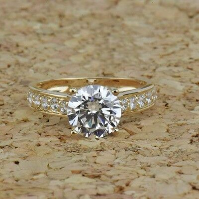 2.5 ct Brilliant Round Solitaire Accent Engagement Ring in Solid 14k Yellow Gold