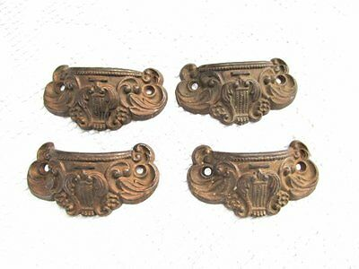 4 Cast Iron Antique French Victorian Bin Style Drawer Pull Handles