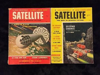 2 Vintage Satellite The Best In Science Fiction Pulp Magazines From 1959