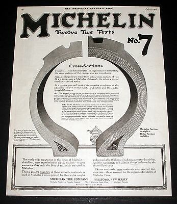 1918 Old Magazine Print Ad, Michelin Tires, Twelve Tire Tests, Cross-Sections!