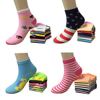 New Fashion Lot 6-12 Pairs Womens Multi Color Styles Ankle Socks Girls Size 9-11