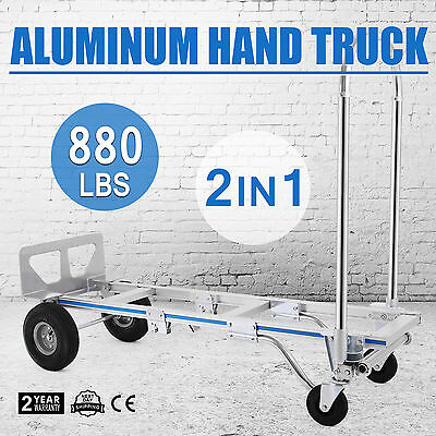 2 IN 1 Aluminum Hand Truck Cart Metal Dolly Heavy Duty Dolly Utility UPDATED