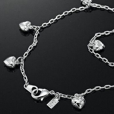 18K White Gold Layered Ankle Heart Charms Anklet 10in