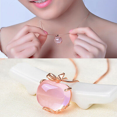 Opal  Necklace Chain Rose Gold Plated Apple Shaped Pink Pendant Wonderful Gift
