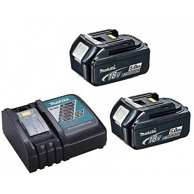 Original 2 Makita BL1850 5.0ah 18v LXT Lithium Ion Batteries and DC18RC Charger
