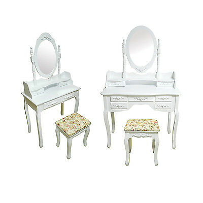 Bedroom Dressing Table with Stool Oval Mirror Vanity Makeup Desk 4/7 Drawers UK
