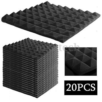 20 Pack Acoustic Wedge Studio Soundproofing Foam Wall Tiles 12x12x2″