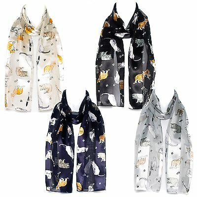 Cat/Breed Paw Print Chiffon Satin Ladies Scarf