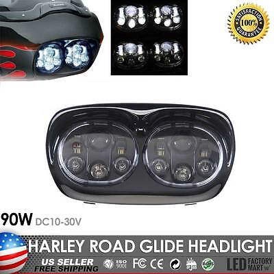 90W Hi/Lo Beam Dual LED Motorcycle Headlight Lamp for Harley Davidson Road Glide