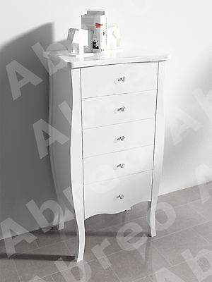 White Shabby Chic Tallboy 5 Drawer Chest Bed Side Table French Bedroom Hallway