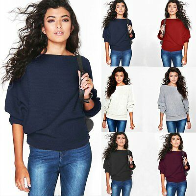 Women Casual Long Sleeve Knitted Pullover Loose Sweater Jumper Tops Outwear Coat