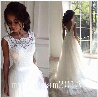 NEW White Lace Wedding Dresses Bridal Gown Ball Quinceanera Prom Deb Custom