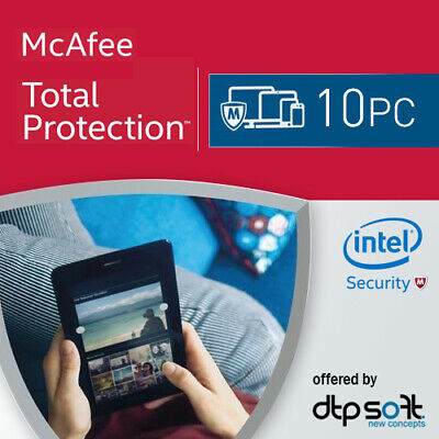 McAfee Total Protection 2019 10 PC 1 Year License Internet Security / 2018 AU