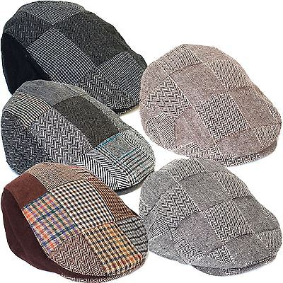 Country Style Wool Blend Ivy Flat Cap with Patchwork Design