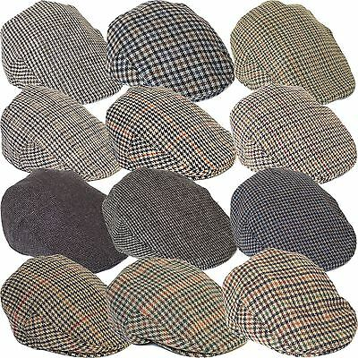 Country Style Wool Blend Ivy Flat Cap with Dogtooth Pattern