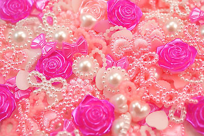 50pc PINK Piece Pearl Shapes Set (Hearts Bows Flowers) Decoden Kawaii UK SELLER