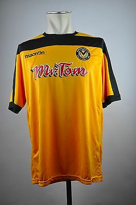 2014-15 NEWPORT COUNTY AFC Trikot Gr. XL Home Wales MR. TOM Jersey Macron Gelb