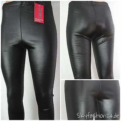 Leggings Thermoleggings Wetlook Lederlook schwarz Winterleggings  Frauen Männer
