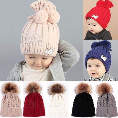 1-15 Y Baby Boy Girl Kids Winter Warm Hat Fur Pom Bobble Knit Crochet Beanie Cap