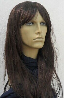 Mens Brown Long  fancy Dress Wig (Middle Parting)