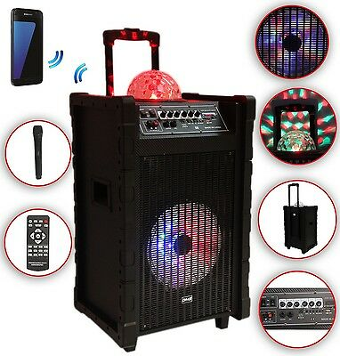 Karaoke Anlage mobile PA Lautsprecherbox Trolley B USB SD MP3 Wireless LED DMS®