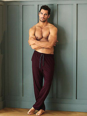 Mens Marks & Spencer David Gandy Autograph Berry Lounge Pants Pyjamas M&s