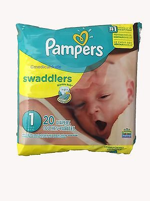 Pampers Swaddlers 12 Packs of 20 Size 1 Diapers 240 Count