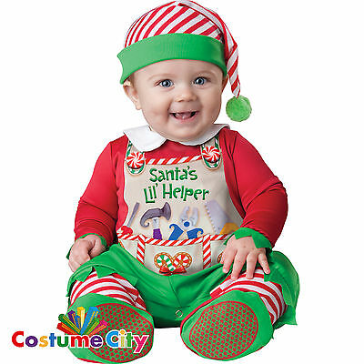 Baby Infant Toddlers Santas Lil Helper Fancy Dress Christmas Party Elf Costume