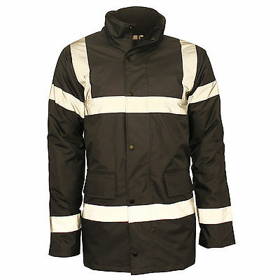 Mens Hi Vis Viz Visibility Workwear Safety Long Jackets Waterproof Size S 5XL