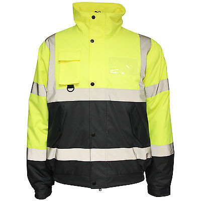 Mens Hi Vis Viz Visibility Workwear Safety Bomber Jackets Waterproof Size S 5XL