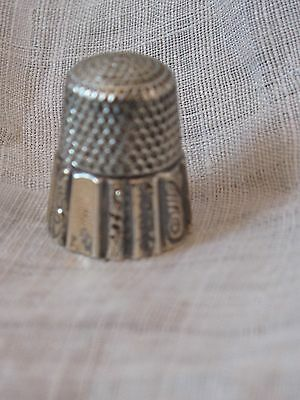 Antique Sterling Thimble Star Marking Engraved Scroll Panels Victorian Gold Wash