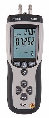 REED R3001 Anemometer/Manometer, 80.0m/s, ±5000Pa in a Handheld, Compact Unit