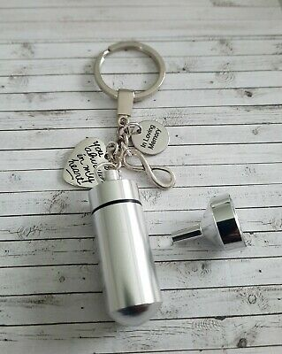 In loving memory Urn ashes key ring, Choice of extra charms, pets/sports/music