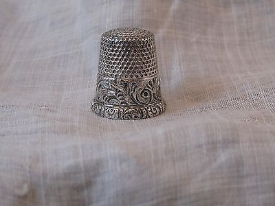 Antque Sterling Silver Thimble Ketcham McDougall size 8 scrolls and feathers