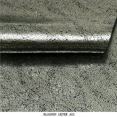 Rindsleder Silber Metallic Design 1,3 mm Dick Echt Leder Haut Fell Leather 212