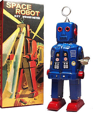 Sparky Robot Space Toy Mechanical Windup Tin Toy Blue - Free Shipping!