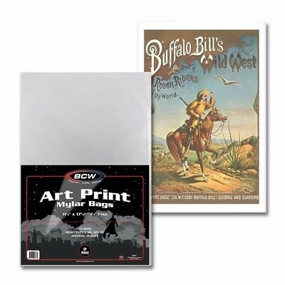 "Pack of 10 ART PRINT MYLAR BAGS 11"" x 17"" 2mil Archival Sleeves BCW NEW SEALED"